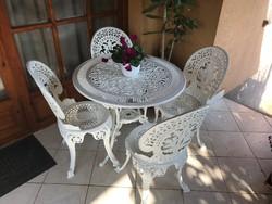 Kerti alumínium garnitúra 4 szék, 1 asztal