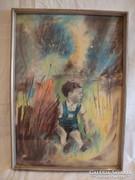 Jelzett régi pasztell festmény fiú a nádasban