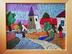 Korényi Attila kortárs festőművész geometrikus fonalkép: A paloznaki torony  2007.