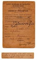 Bányászok Önkéntes Nyugdíjpénztára Párizs Regisztrációs Igazolás 1925