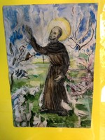 Szent Ferenc galambokkal akvarell