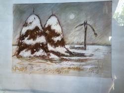 """""""Téli puszta """"pasztell kép"""