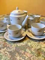 Antik régi szép Zsolnay nagyméretű teás kannával teás készlet az 1920 -as évekből 17 db
