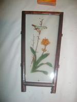 Bájos madaras, virágos, üvegre festett falikép