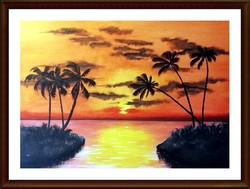 Czinóber - Palm sunset ( 70 x 50 )