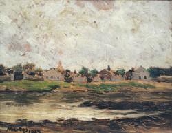 RITKASÁG FÉLÁRON Martos Ignác Zsigmond (1888-?) Szolnoki  Tabán Látképe Zagyvapart