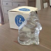 Régi LINDSHAMMAR svéd üveg szobor dobozával