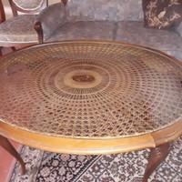 Chippendél barok Ratán ovális dohányzóasztal