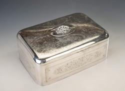Ezüst nagyméretű  századfordulós fabetétes doboz