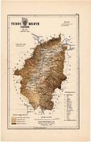 Turóc megye térkép 1889, Magyarország, vármegye, régi, atlasz, eredeti, Kogutowicz Manó