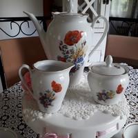 Teás készlet kahla német porcelán, pipacsos