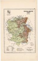 Ugocsa megye térkép 1889, Magyarország, vármegye, régi, atlasz, eredeti, Kogutowicz Manó