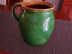 Antik nagy zöld köcsög, népi kerámia, kancsó, szilke
