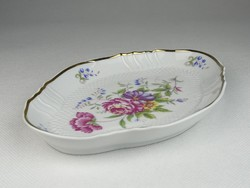 0S030 Virágmintás Hollóházi porcelán tálka