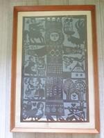 Würtz Ádám -  kompozíció nagyméretű jelzett színes - 1969