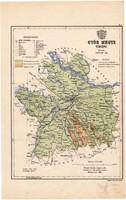 Győr megye térkép 1887, Magyarország, vármegye, régi, atlasz, eredeti, Kogutowicz Manó
