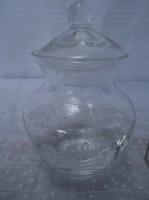 Üveg - Vastag - gravírozott - üveg amfóra - 12 x 7 cm cukorka - fűszer tartó - hibátlan