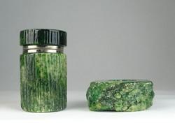 0S129 Zöld kő íróasztali kellék asztali dísz 2 db