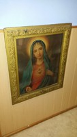 100 ÉVES MÁRIA ÉS JÉZUS OLAJNYOMAT PÁR IMPOZÁNS KERETBEN 71 x 85 cm SZENTKÉP
