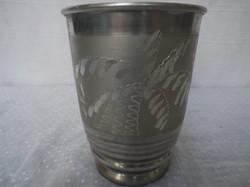 Régi fém  gravírozott  dupla falú melegentartó bögre 3,5 dl