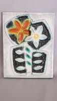 Zsolnay pirogránit virágos fali plakett