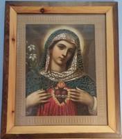 SZŰZ MÁRIA, jÉZUS KRISZTUS RÉGI SZENTKÉP PÁR NYOMAT VEGYES TECHNIKÁVAL 49 x 58.5 HÍMZETT IS !!!