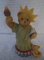 Maci - kerámia - jelzett - Cerished Teddies USA 11 x 8 x 5 cm Tökéletes - hibátlan!