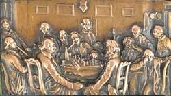 0S068 Sakkozó urafiak bronz plakett keretben