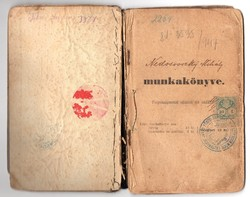 Vájár, bányász Munkakönyv 1901 Esztergom