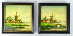 0S113 Jelzett kézzel festett holland csempe pár