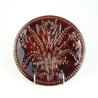 0S060 Jelzett barna mázas tápiószőlősi kerámia tál