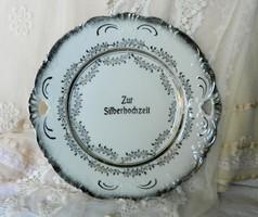 Ezüst lakodalomra,  gyönyörű ezüstözött porcelán tál