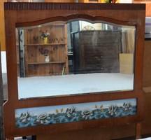 Antik pipere tükör, régi míves piperetükör, faragott, festett