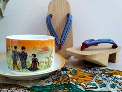 Antik Zsolnay gésás csésze szett