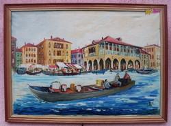 Velencei csónakázás, háttérben a Regatta Storica piaci nyüzsgése, szignált festmény