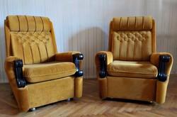 Fabetétes kényelmes plüss huzatos fotel párban