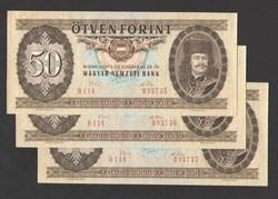 50 forint 1975. 3 db sorszám követő!!  UNC!!  RITKA!!