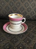 TK (Klösterle) porcelán, antik kávés csésze aljjal, 1844.