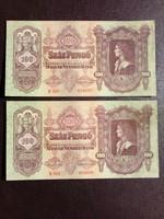 2 db Sorszámkövető 1930 100 Pengő