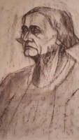 Barcsay: Idős nő portréja. Szén,papír,