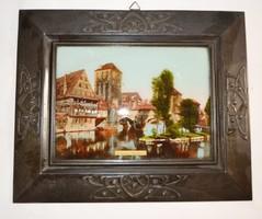 Festmény, szecesszió fém keretben Nürnberg Henkersteg