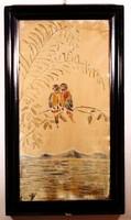 Selyemre festett kép Madarak a fán