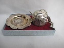 Teafű tartó pici kanna - Ezüstözött Angol használati tárgy.