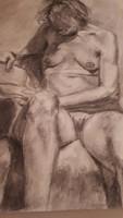 Vén szignóval  Ülő női akt. Szén, papír, hajtás nyommal, felcsavarva, 80×60 cm