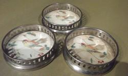 3 db antik, porcelánfajansz alátét