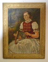Koleszár György Hölgy díszmagyarban 1935 olaj vászon aranyozott keretben