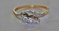 Szép antik art deco 0,15ct brill 18kt arany platina gyűrű 5nap!