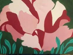 Kézi festésű vászon fali kép vakrámán jelz.