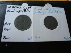 Német megszállás pénzei 01. Belga cent 1915-16