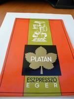 Eger ,Platán étterem eszpresszójának,itallap tartója.kb.1970.500.-Ft